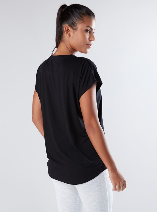 Printed T-Shirt with Round Neck and Eyelet Detail