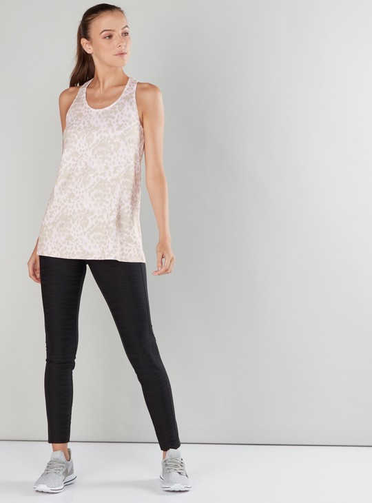 Printed Vest with Scoop Neck and Racerback
