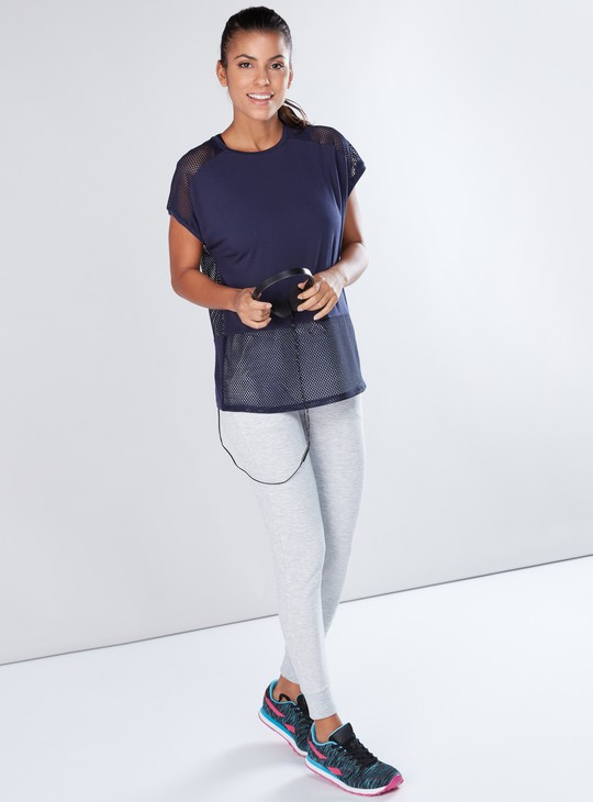 Textured T-Shirt with Mesh Detail