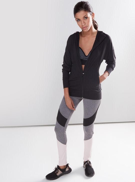 Long Sleeves Yoga Jacket with Zip Closure and Hood