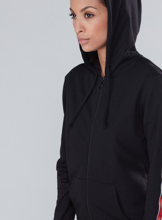 Tape Detail Jacket with Hood and Zip Closure