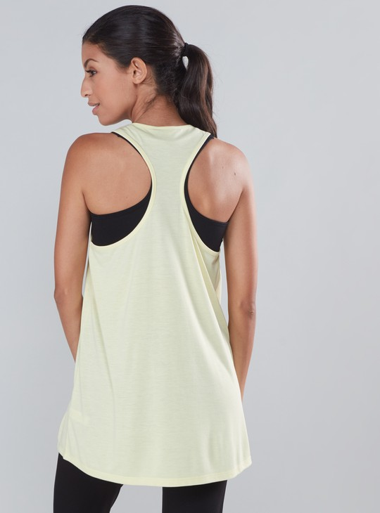Printed Longline Vest with Racerback and Scoop Neck