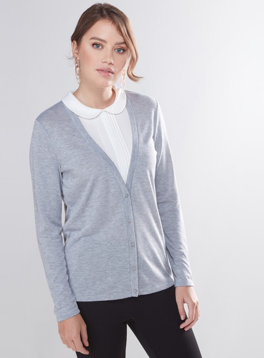Cardigan Top with Long Sleeves and Peter Pan Collar