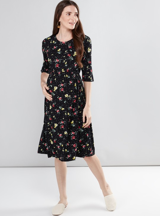 Maternity Floral Printed Midi Dress with Round Neck and 3/4 Sleeves