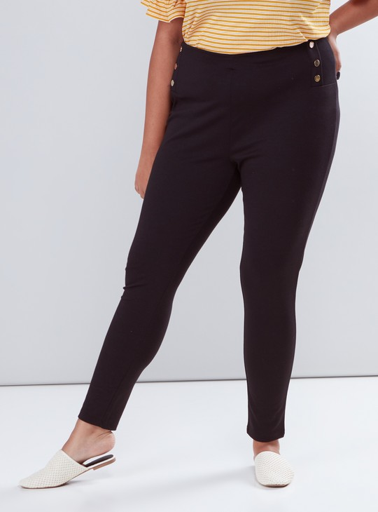 Leggings with Side Button Detail and Elasticised Waistband