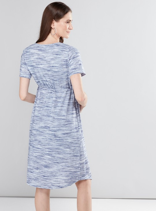 Maternity Printed Midi Dress with Round Neck and Short Sleeves