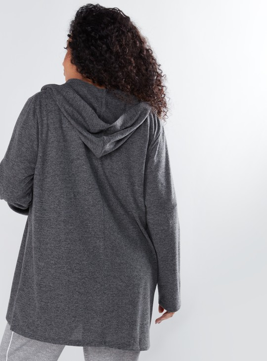 Melange Open Front Shrug with Long Sleeves and Hood