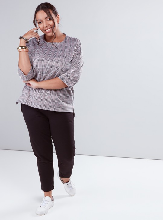 Chequered Top with Extended Sleeves and Pearl Detail