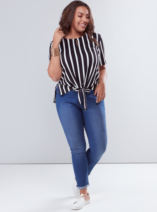 Striped Round Neck Top with Short Sleeves and Front Knot