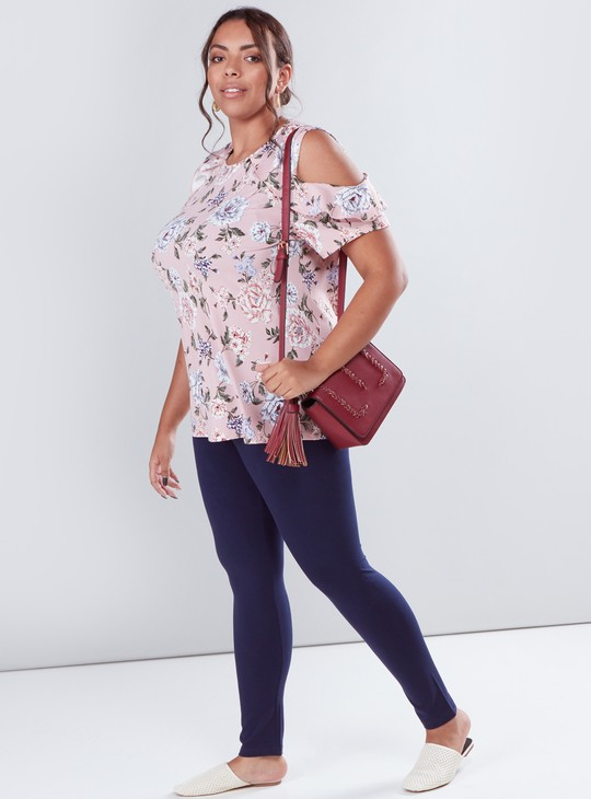 Floral Printed Cold Shoulder Top with Round Neck