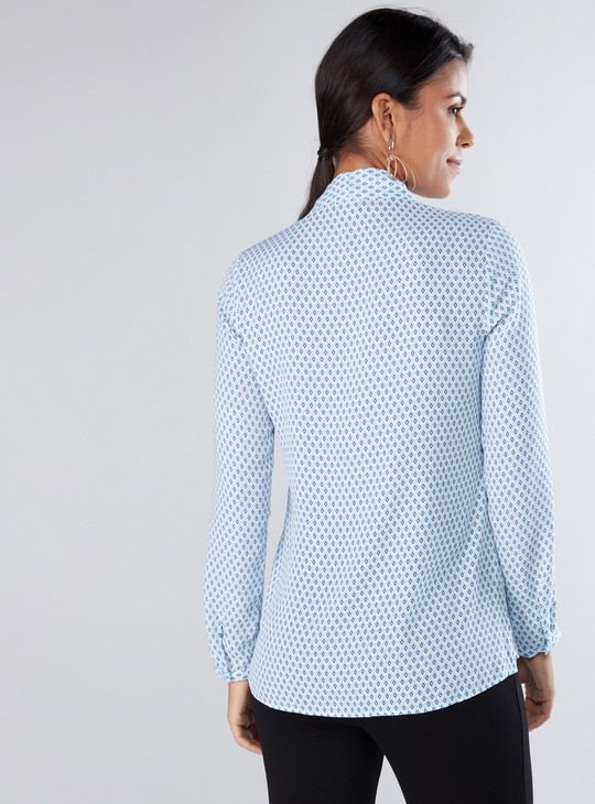 Printed Shirt with Long Sleeves and Pussy Bow