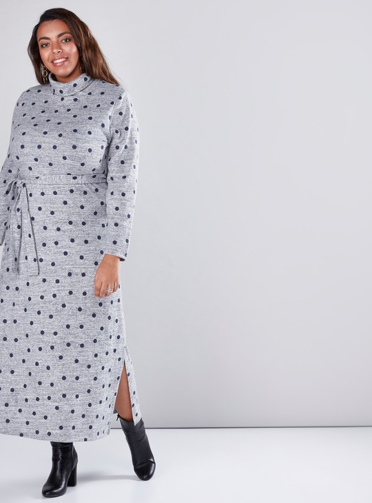 Long Sleeves A-Line Maxi Dress with Polka Dots