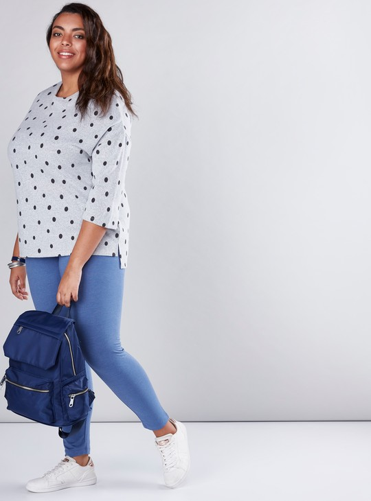 Round Neck Top with Polka Dots and 3/4 Sleeves