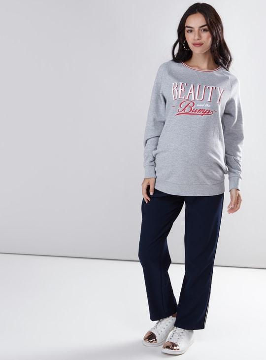 Maternity Printed Sweatshirt with Round Neck and Raglan Sleeves
