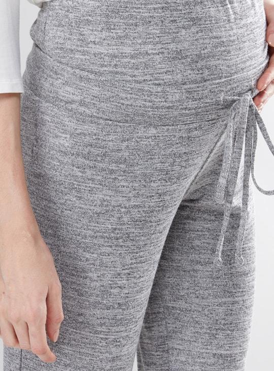 Maternity Melange Jog Pants with Drawstring
