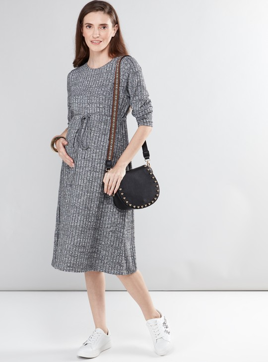 Maternity Ribbed Midi Dress with Round Neck and Long Sleeves