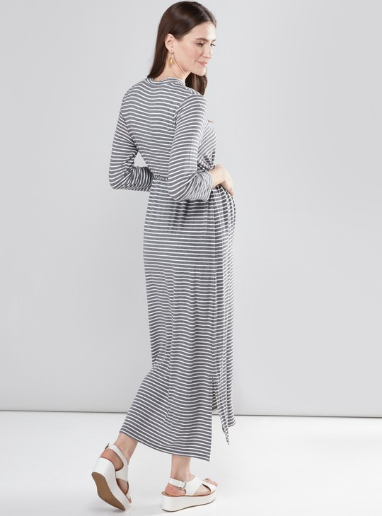 Maternity Striped Maxi Dress with Round Neck and 3/4 Sleeves