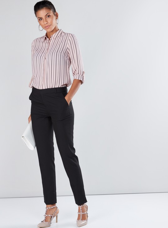 Striped Long Sleeves Shirt with Concealed Placket