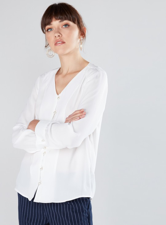 Pearl Detail Shirt with V-Neck and Long Sleeves