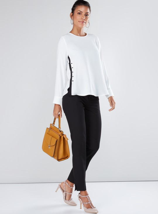 Long Sleeves Top with Round Neck and Button Detail