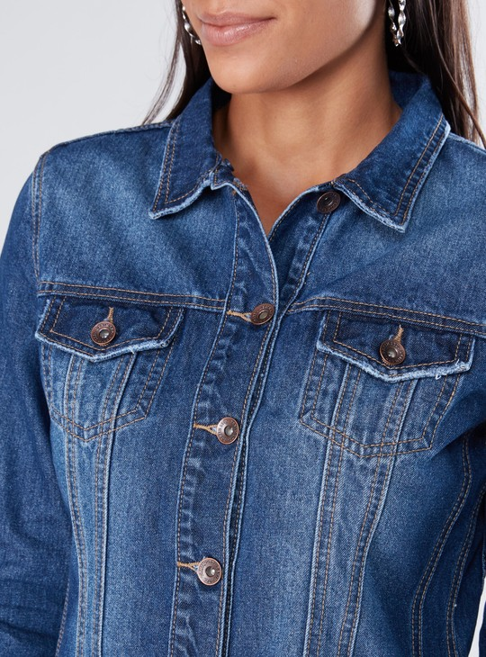 Long Sleeves Denim Jacket with Button Closure and Pocket Detail