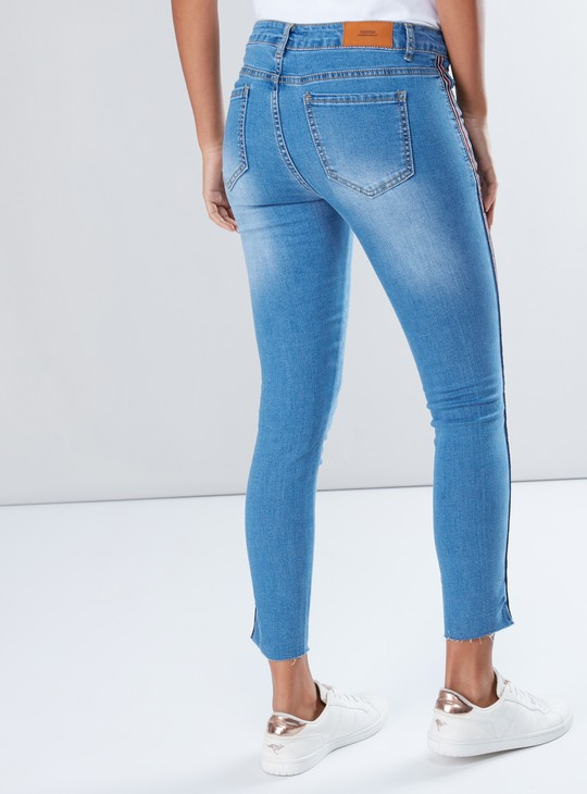 Tape Detail Full Length Jeans with Button Closure and Pocket Detail