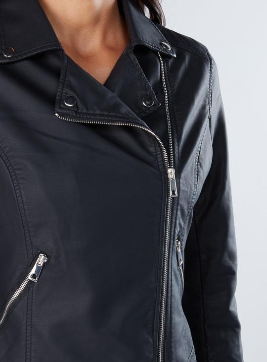 Biker Jacket with Long Sleeves and Zip Closure