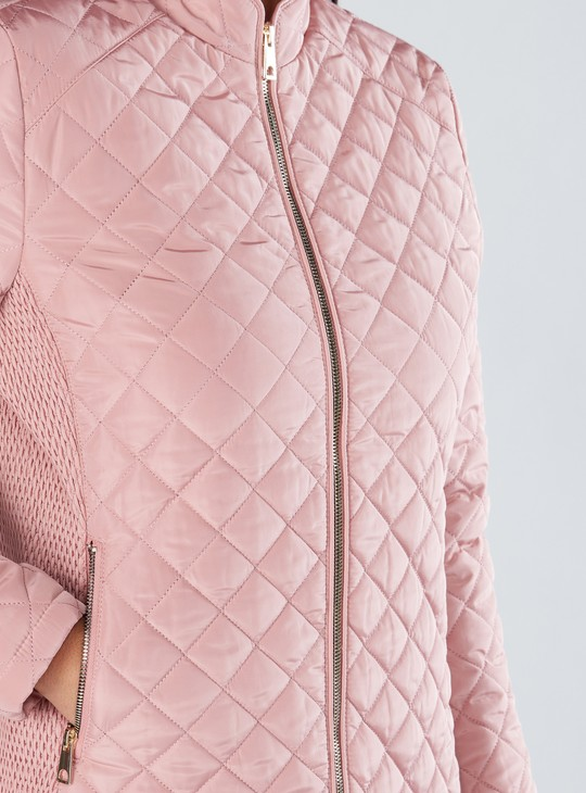 Quilted High Neck Jacket with Long Sleeves and Zip Closure