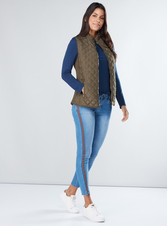 Quilted Sleeveless Bomber Jacket with Zip Closure and Pocket Detail