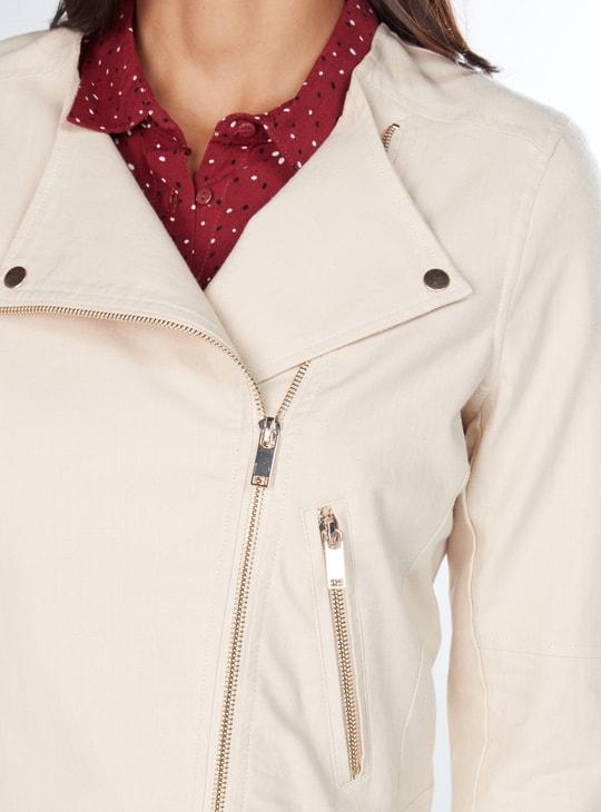 Crop Biker Jacket with Long Sleeves and Zip Closure