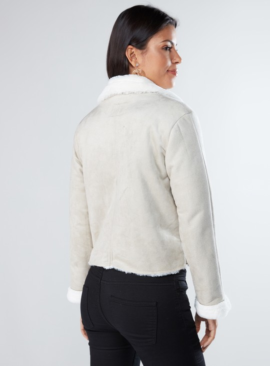 Plush Detail Biker Jacket with Notched Lapels and Zip Pockets