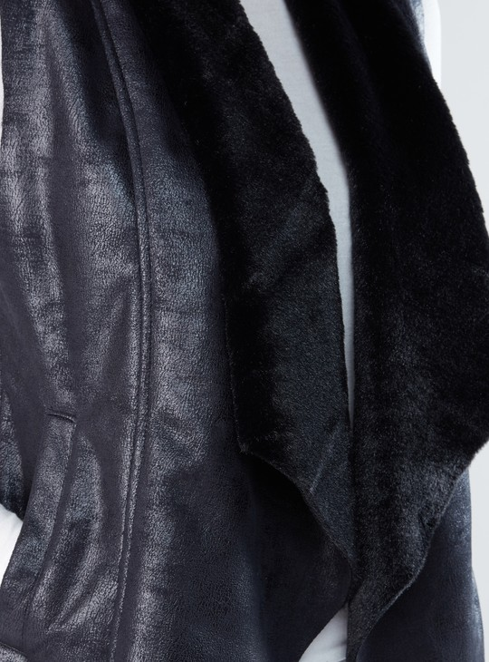 Textured Sleeveless Open Front Shrug with Plush and Pocket Detail