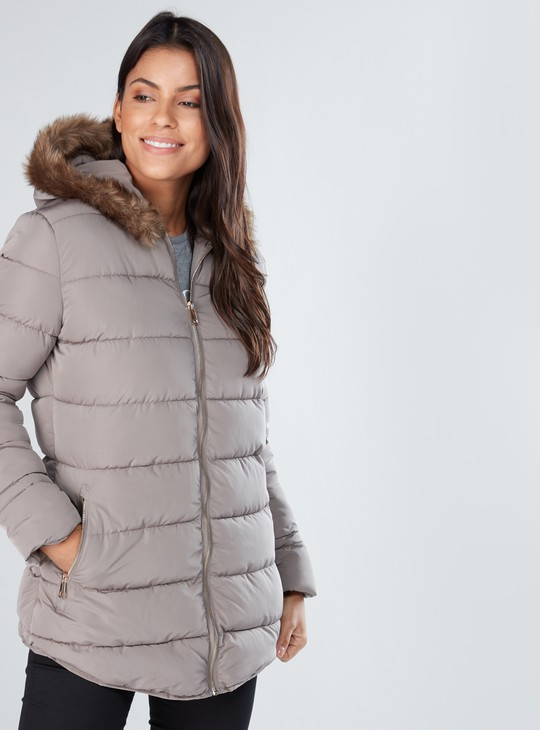 Textured Jacket with Zip Closure and Long Sleeves