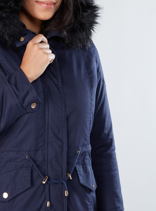 Parka Jacket with Long Sleeves and Tie Ups