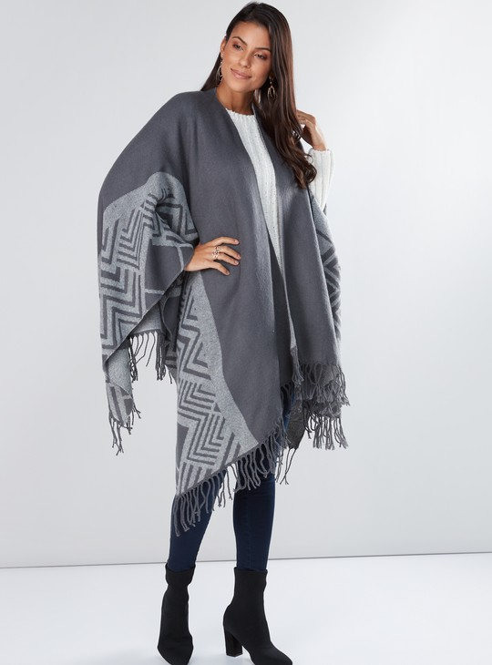 Printed Longline Open Front Shrug with Tassels