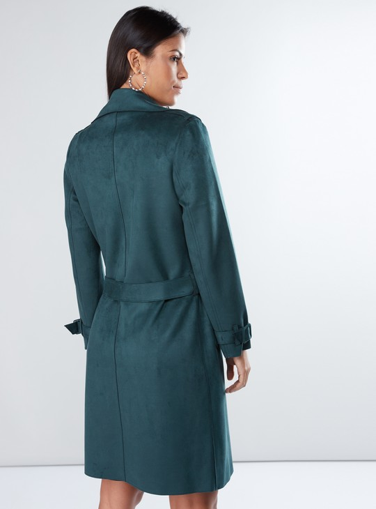 Textured Trench Coat with Long Sleeves and Tie Up Belt