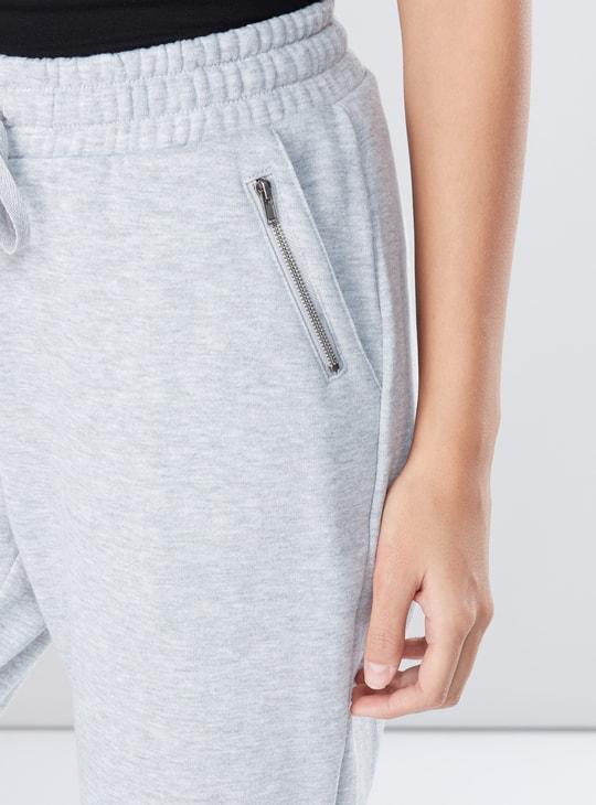 Full Length Jog Pants with Drawstring and Pocket Detail
