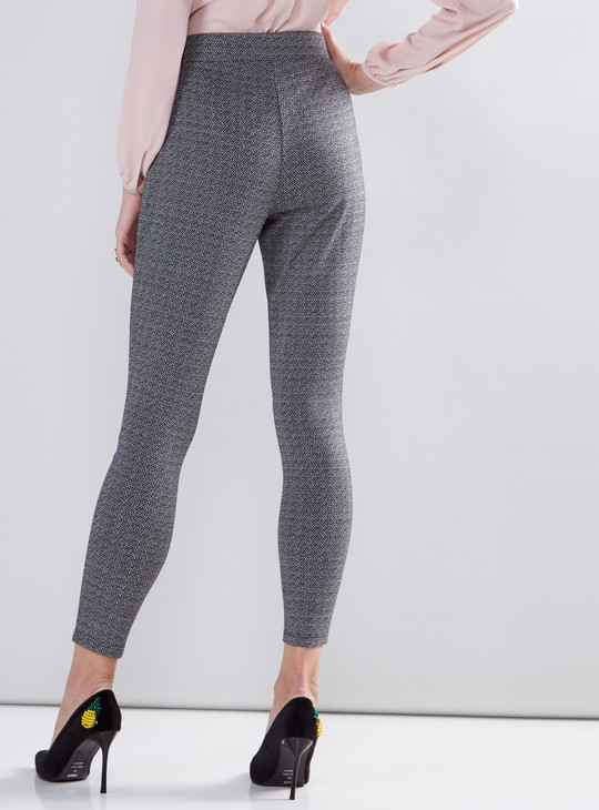 Textured Jeggings with Elasticised Waistband