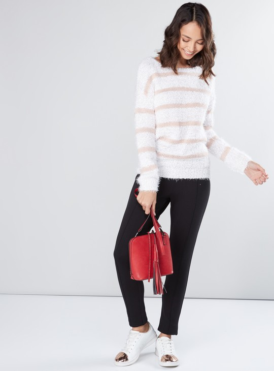 Full Length Mid-Rise Jeggings with Elasticised Waistband