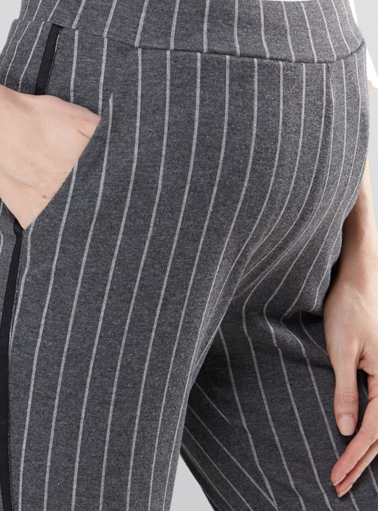 Maternity Striped Full Length Pants with Pocket Detail