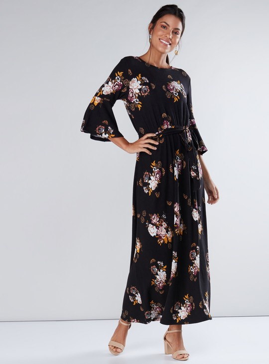 Printed A-Line Maxi Dress with Flared Sleeves