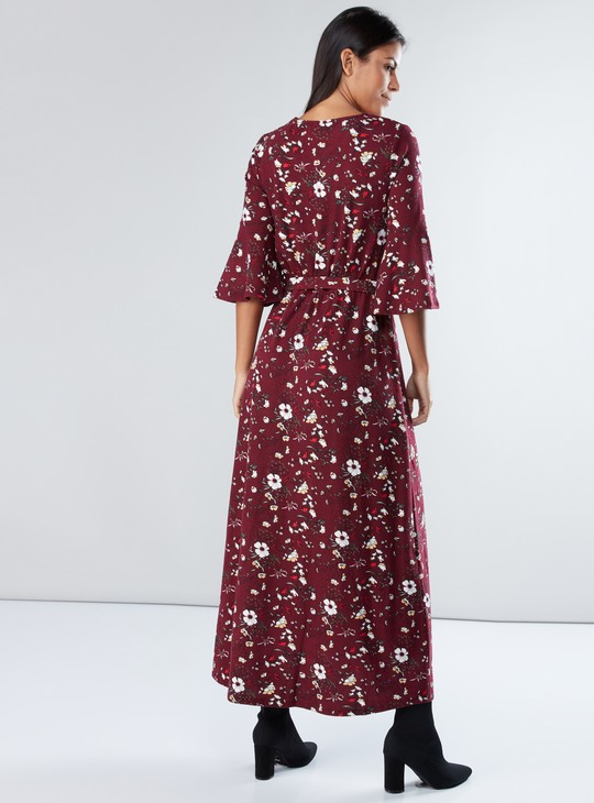 Floral Printed Maxi Dress with Round Neck and Bell Sleeves
