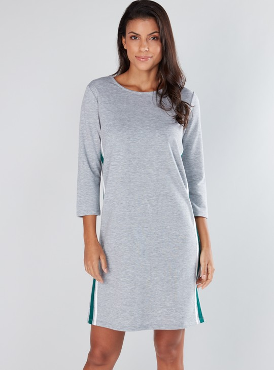 Striped Shift Dress with 3/4 Sleeves