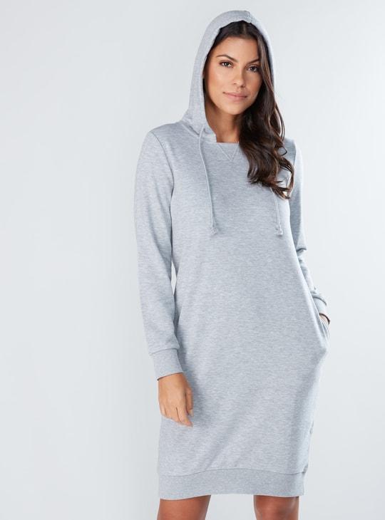 Melange Printed Sweat Dress with Long Sleeves