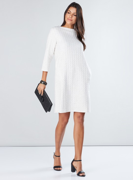 Textured Midi Dress with 3/4 Sleeves and Pocket Detail