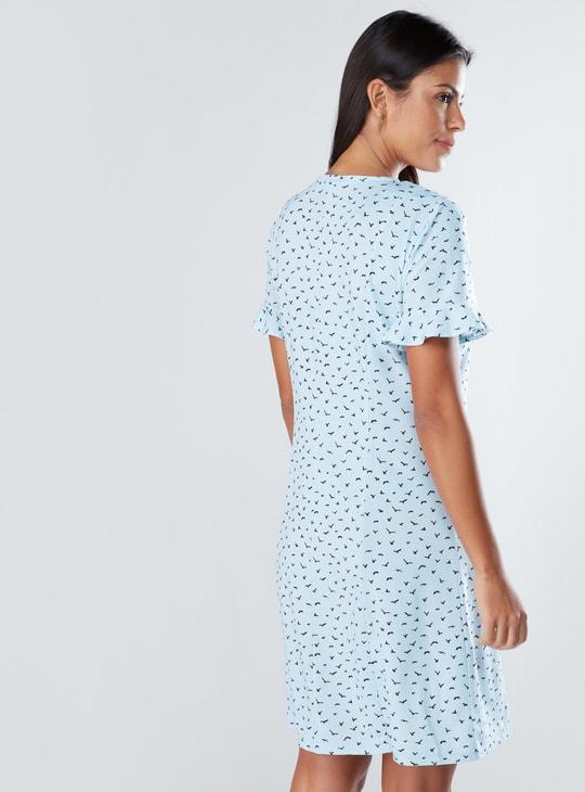 Printed Midi Shirt Dress with V-Neck and Short Sleeves