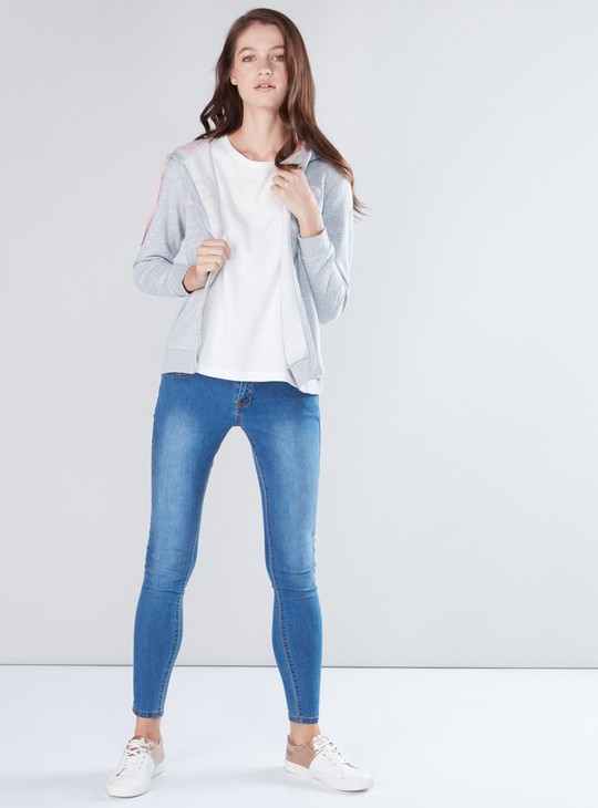 Embroidered Jacket with Long Sleeves and Zip Closure
