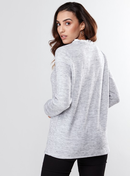 Pearl Detail Frill Trim Top with Long Sleeves