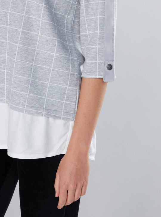 Chequered Top with Round Neck and 3/4 Sleeves