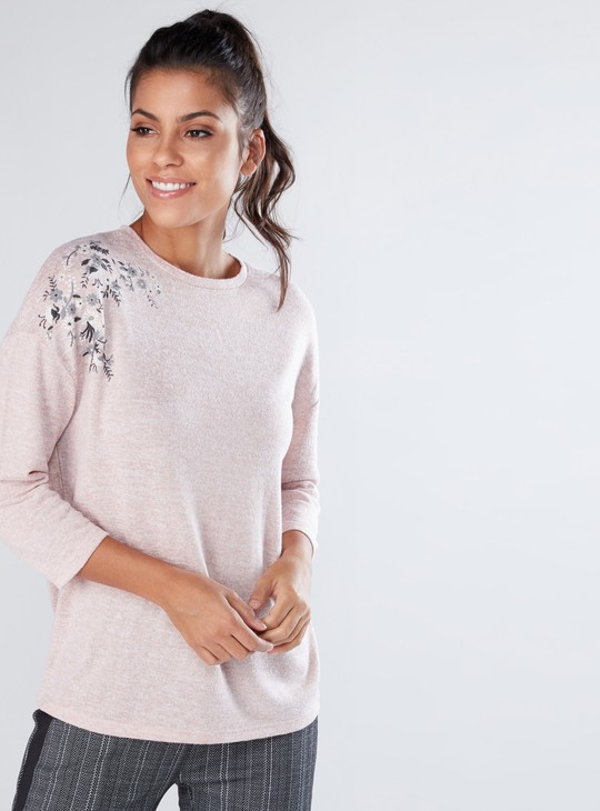 Round Neck Boxy Top with 3/4 Sleeves